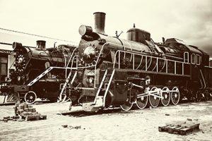 retro old train locomotives, vintage background