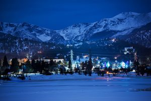 One Cold Winter Night in the Famous Winter Park, Colorado, United States.